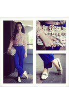 light pink Miu Miu top - eggshell Chanel bag - blue vintage pants