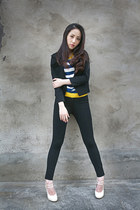black Lacoste jacket - black Lacoste leggings - white Lacoste top