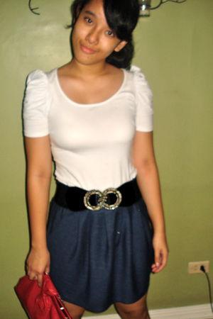 white Zara blouse - blue Forever21 skirt - silver kashieca belt - red chocolate