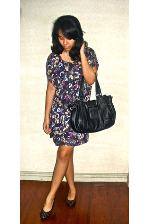 purple Mango dress - black Steve Madden shoes - gold DIY necklace - black NY and