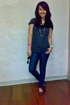 Forever 21 jeans - camisole Zara intimate - with star print Forever 21 blouse -