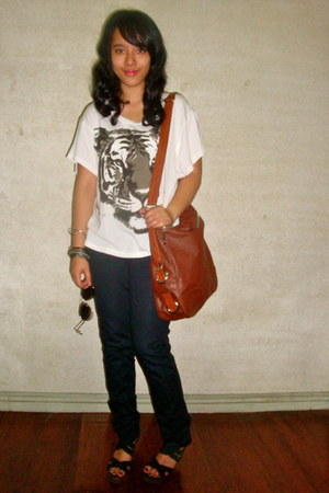 black skinny Zara jeans - Bayo bag - wisteria CMG Matthews wedges - Forever 21 b