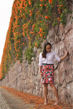 carrot orange floral print ann taylor skirt
