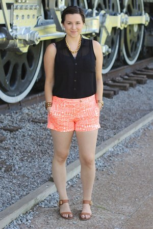 orange Jcrew shorts - brown gold sam edelman sandals