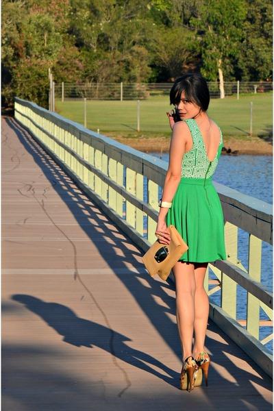 green skater Foxxfoe dress - floral peep-toe zu shoes