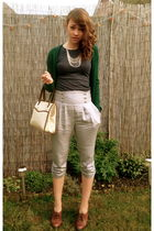brown vintage shoes - silver new look pants - green Zara cardigan - beige vintag