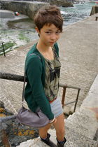 green Zara cardigan - gray H&M skirt - brown vintage belt - gray vintage boots -