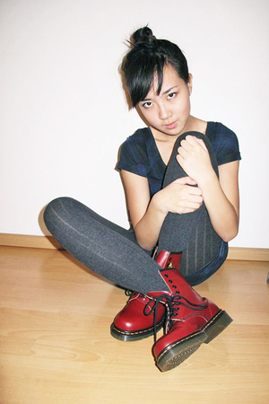 red doc martens shoes - gray H&M tights - blue H&M dress