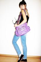purple Gst accessories - blue H&M jeans - black vintage shoes - black H&M top -