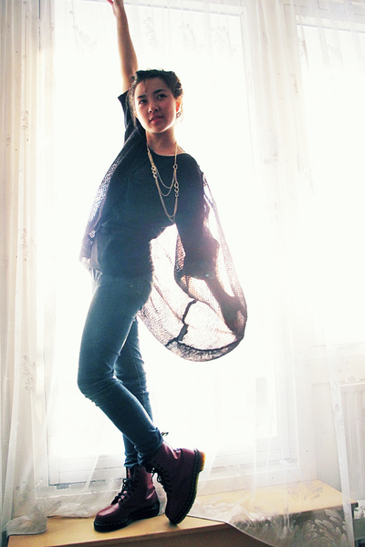 black H&M sweater - black H&M jeans - black Inwear top - red doc martens shoes -