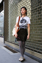 white Berlin FW t-shirt - beige Bally shoes - black H&M dress