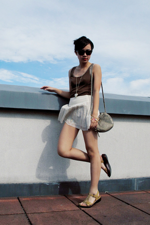 brown Mango top - white H&M skirt - beige Belle sandals shoes