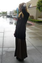 black Topshop sweater - brown Forever 21 dress - gold Chanel necklace
