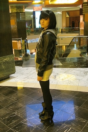 H&M jacket - American Apparel - Dolce Vita shoes - American Apparel dress