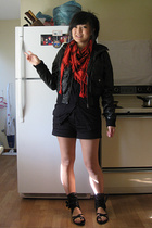 black Jeffrey Campbell shoes - black faux leather H&M jacket