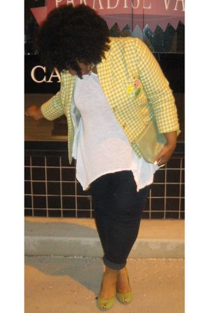 green vintage blazer - green shoes - white Pink Rose top - blue jeans - yellow E