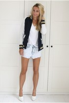 zeeman jacket - Zara shirt - Zara shorts - H&M wedges
