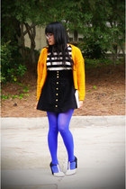 blue Betsey Johnson stockings - mustard H&M sweater