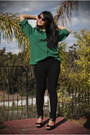 Green-silk-blouse-thrifted-vintage-shirt-black-jegging-uniqlo-pants
