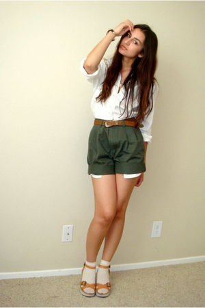 brown white mt shoes - green secondhand my dads shorts