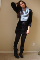 black H&M dress - blue H&M scarf - gray Express socks - black Steve Madden boots
