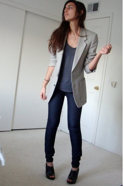 black Target shoes - blue Express jeans - gray dads blazer
