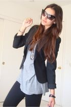 black Forever21 sunglasses - black Express leggings - black Express blazer