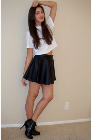 black Forever21 skirt - white DIY hanes t-shirt - black Dollhouse boots