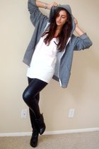 gray American Apparel jacket - white Forever21 t-shirt - black Express leggings