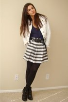 white Forever21 jacket - blue American Apparel t-shirt - white Forever21 skirt -