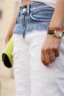 Light-blue-zara-jeans-white-zara-sweater-chartreuse-bcbg-bag