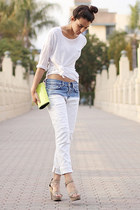 light blue Zara jeans - white Zara sweater - chartreuse BCBG bag