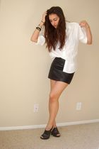 white vintage blouse - black H&M skirt - black Target shoes