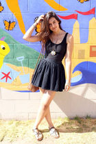 black American Apparel dress - black H&M skirt - black Cynthia Vincent for Targe
