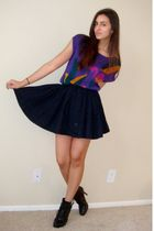 purple vintage from Wasteland sweater - black H&M skirt - black Dollhouse boots