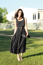 black polkadot vintage dress - black American Apparel bag - black vintage belt -