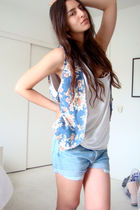 blue DIY wrangler shorts - white DIY hanes t-shirt - blue vintage wet seal vest