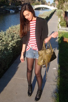 black vintage mommys blazer - red really old ralph lauren shirt - blue DIY calvi