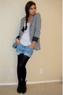 Gray-express-blazer-white-express-t-shirt-blue-diy-wranglers-shorts-black-