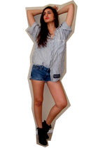 blue vintage union bay shirt - blue DIY calvin klein shorts - black Dollhouse bo