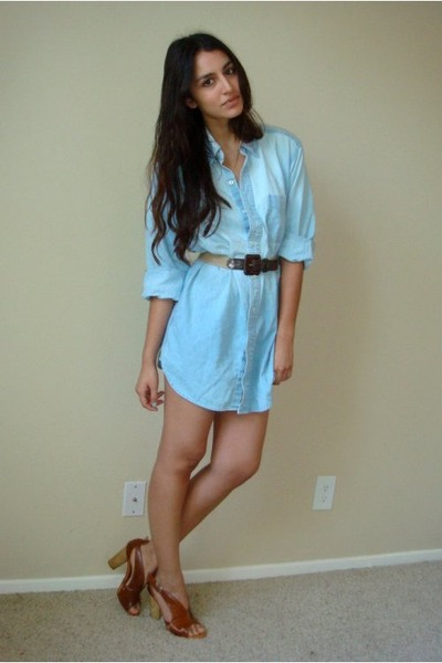 blue vintage denim shirt - brown vintage belt - brown latitude femme via tjmaxx