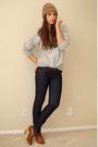 Gray-h-m-coat-gray-vintage-sweater-blue-express-jeans-purple-random-socks-