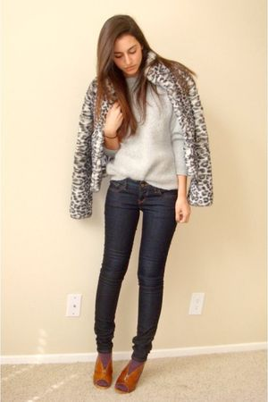 gray H&amp;M coat - gray vintage sweater - blue Express jeans - purple random socks 