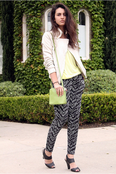 cream Express jacket - chartreuse HOBO bag - black H&amp;M pants