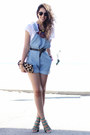Blue-overalls-american-apparel-romper-black-vintage-coach-belt