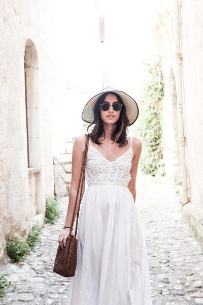 tan Aldo hat - white Raga dress - dark brown ray-ban sunglasses