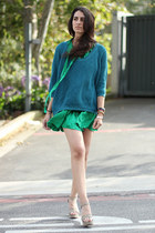 teal Forever 21 sweater - green DKNY dress - dark khaki BCBG wedges