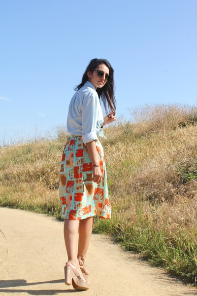 aquamarine H&M skirt - sky blue denim American Apparel shirt - tan Tahari heels