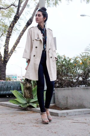 beige trench H&amp;M coat - blue American Apparel jeans - black floral H&amp;M blouse