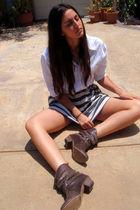 white Secondhand shirt - brown Steve Madden boots - gray Forever21 skirt